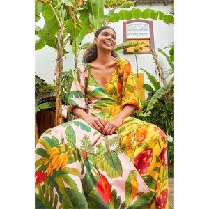 Farm Rio Mixed Print Midi Wrap Dress